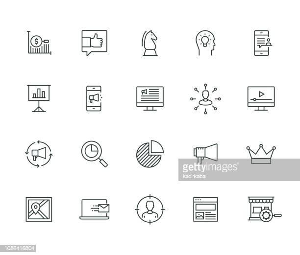 マーケティングの細線シリーズ - 広告点のイラスト素材/クリップアート素材/マンガ素材/アイコン素材
