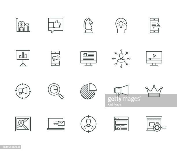 marketing-dünne line-serie - werbung stock-grafiken, -clipart, -cartoons und -symbole
