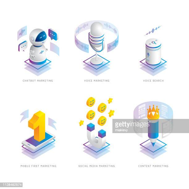 marketing trends isometric icons - microphone transmission stock illustrations