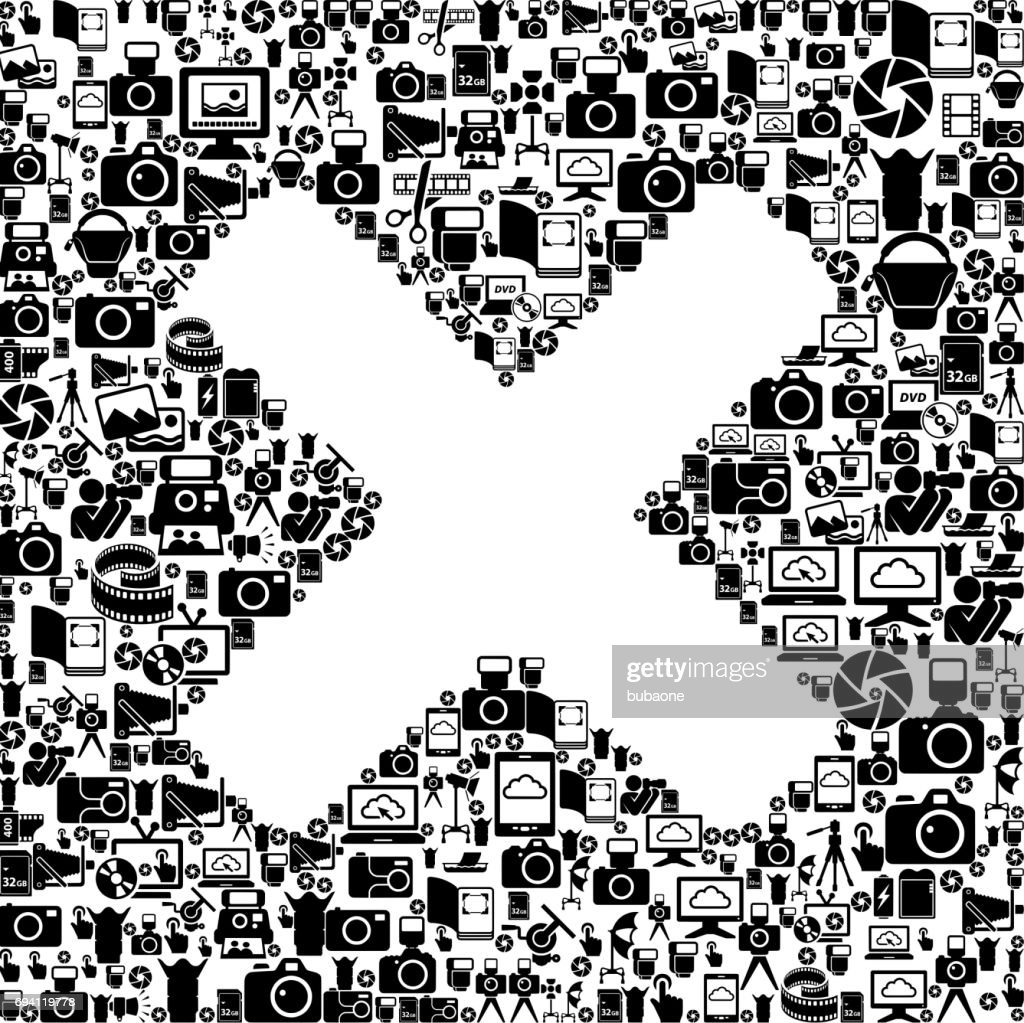 X Marks Photography Black and white Vector Icons Background
