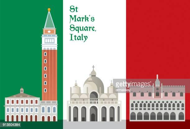 st mark's square italy - venice italy stock illustrations, clip art, cartoons, & icons