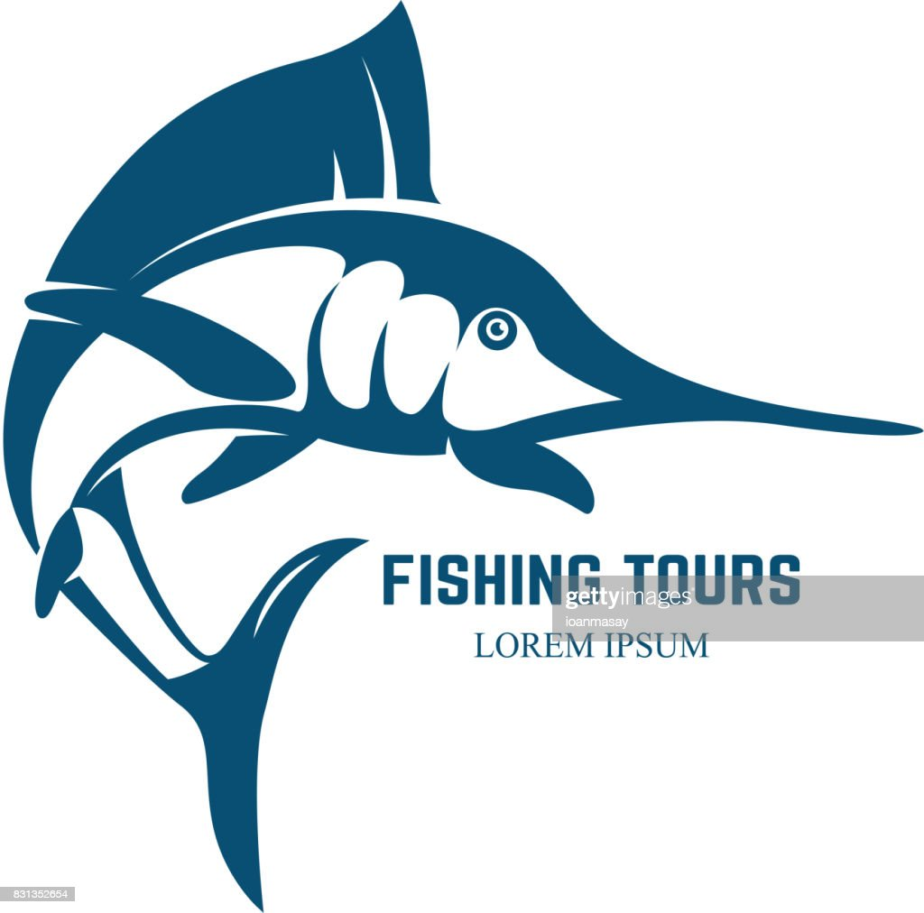Marlin fish icon isolated on white background.