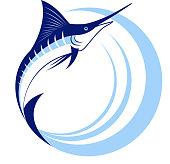 Marlin Fish with Sea Waves