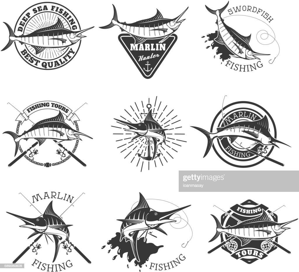Marlin fishing. Swordfish icons. Deep sea fishing. Design elemen