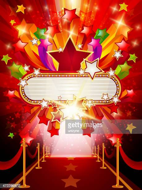 marquee banner with red carpet background - tempo stock illustrations