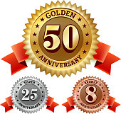 Marriage Anniversary Badges Red, Silver, and Bronze Set