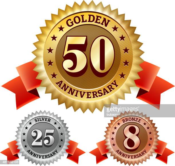 stockillustraties, clipart, cartoons en iconen met marriage anniversary badges red, silver, and bronze set - 50 jarig jubileum