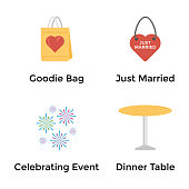 Marriage Ceremony Flat Icons Pack