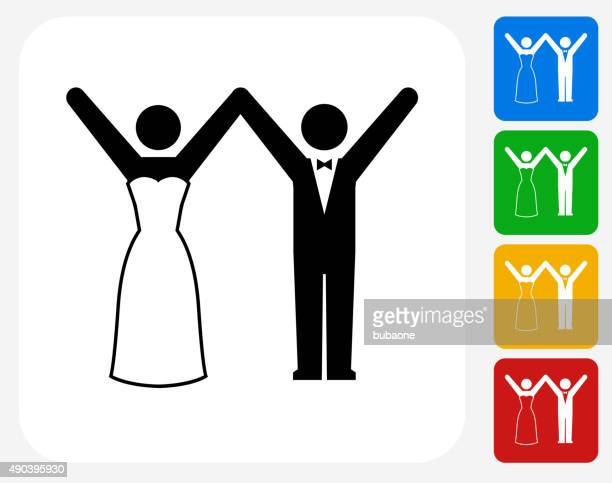 marriage icon flat graphic design - glühend stock illustrations
