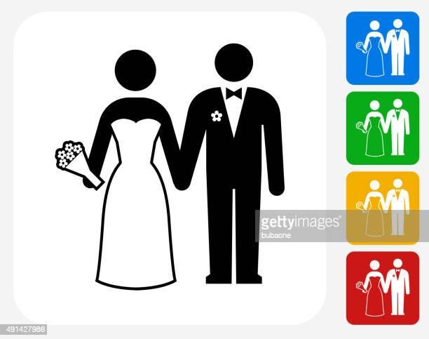 marriage icon flat graphic design - honeymoon stock illustrations, clip art, cartoons, & icons