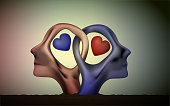 marriage icon, people head in love, blue man and red woman heads in love, surrealistic romantic dream, together forever,