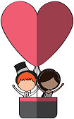 Married couple traveling in balloon avatar characters