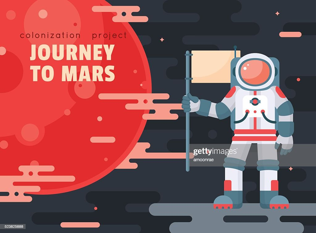 Mars colonization project poster with astronaut holding flag