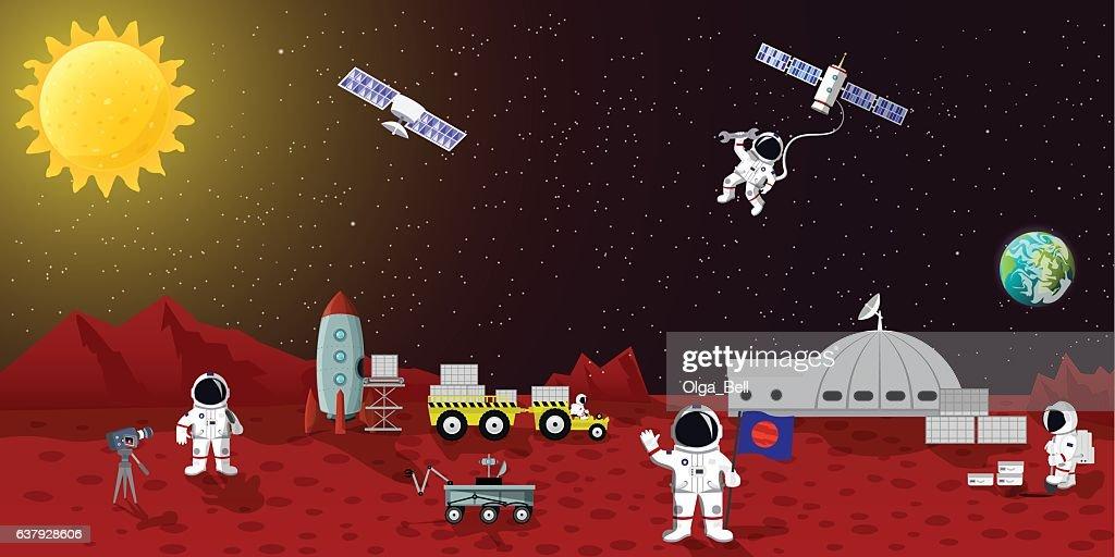 Mars colonization vector ilustration. Space planet austronaut station, spaceman characters