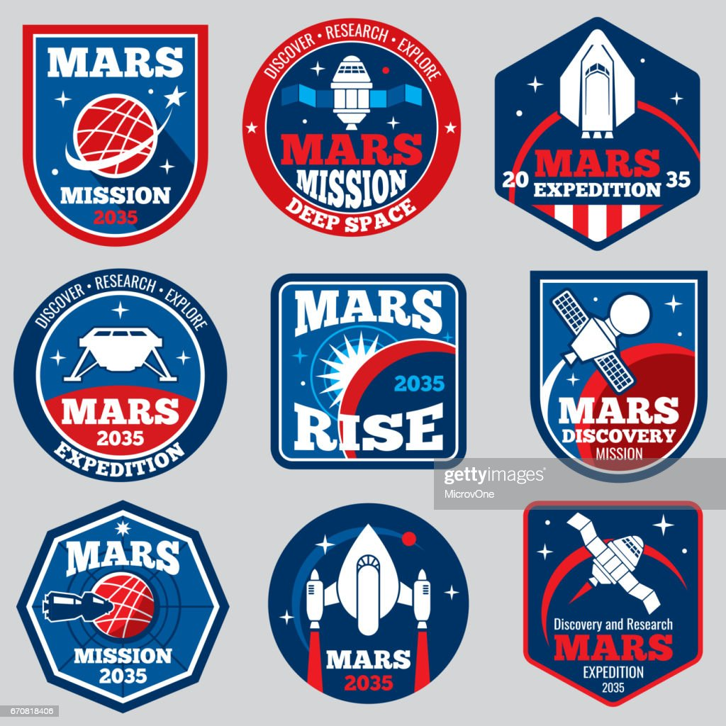 Mars mission vector space emblems. Astronaut travel badges