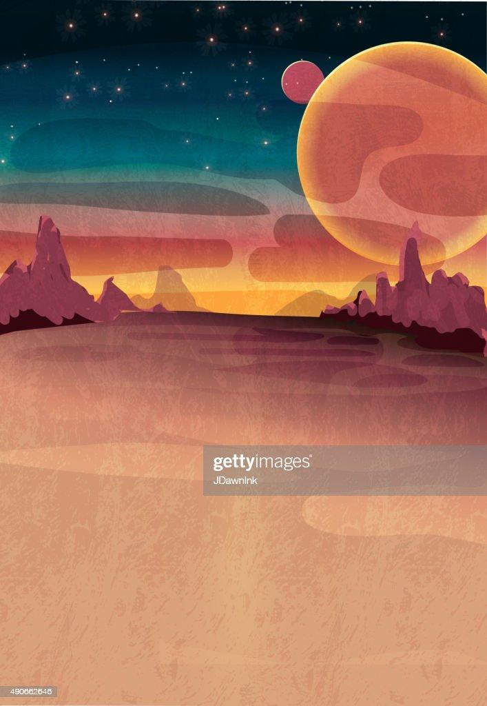 Mars oder galaktischen Kulisse poster : Stock-Illustration
