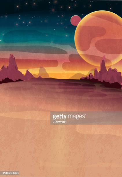 mars or outerspace scene poster - copy space stock illustrations