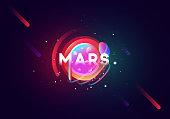 Mars planet bright abstract illustration.