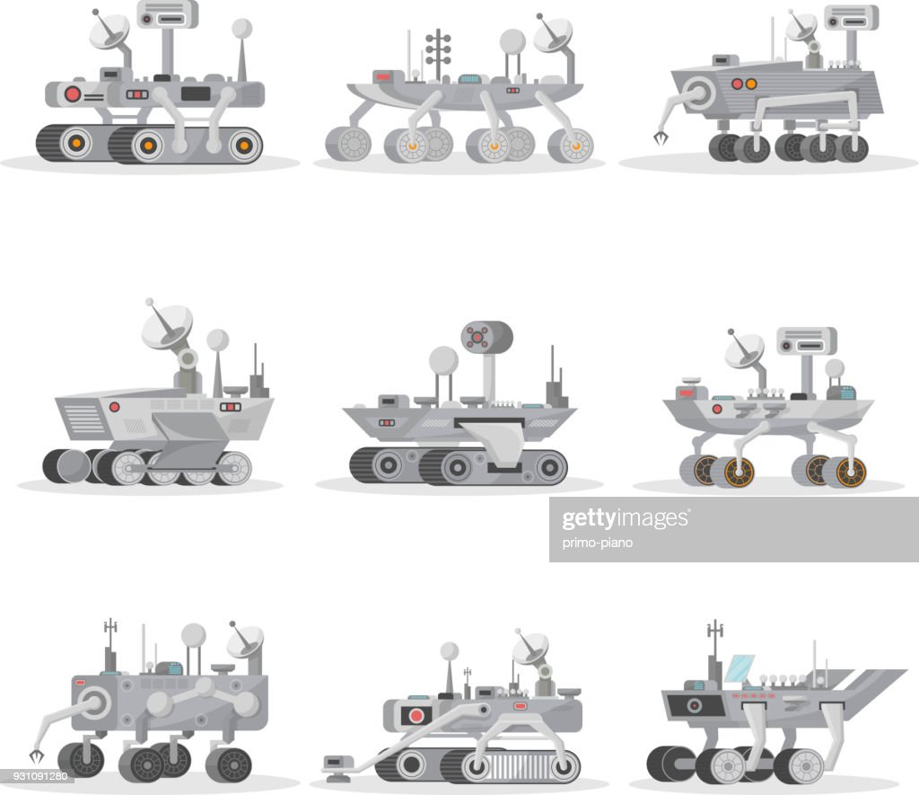 Mars rovers isolated icons set