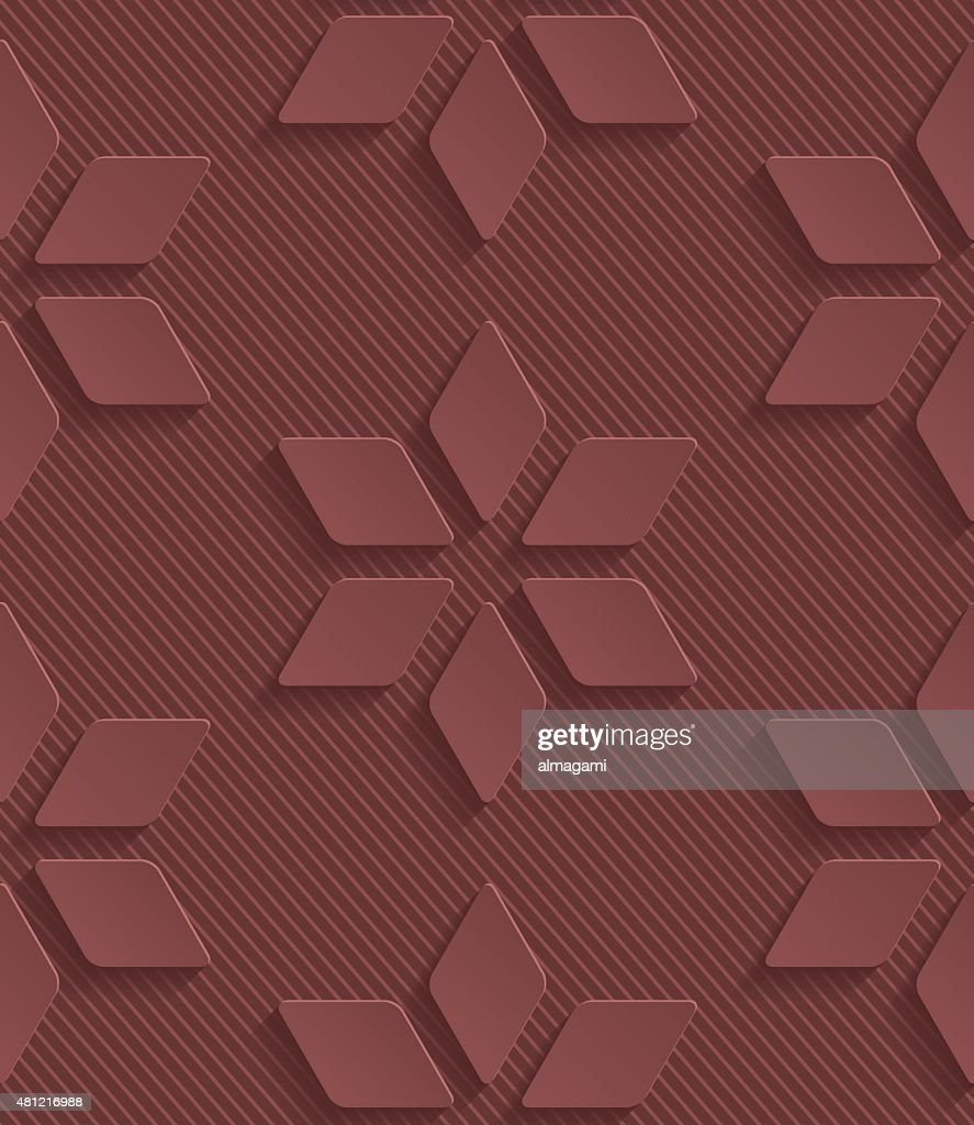 Marsala color vector seamless pattern with 3D effect
