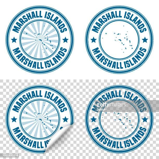 Marshall Islands - Blue sticker and stamp with name and map