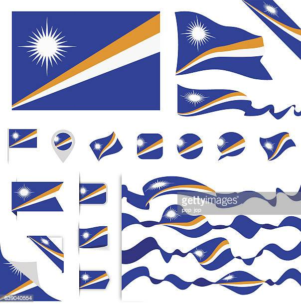 marshall islands flag set - marshall islands stock illustrations, clip art, cartoons, & icons