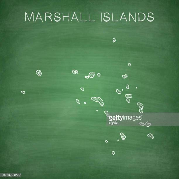 marshall islands map drawn on chalkboard - blackboard - marshall islands stock illustrations, clip art, cartoons, & icons