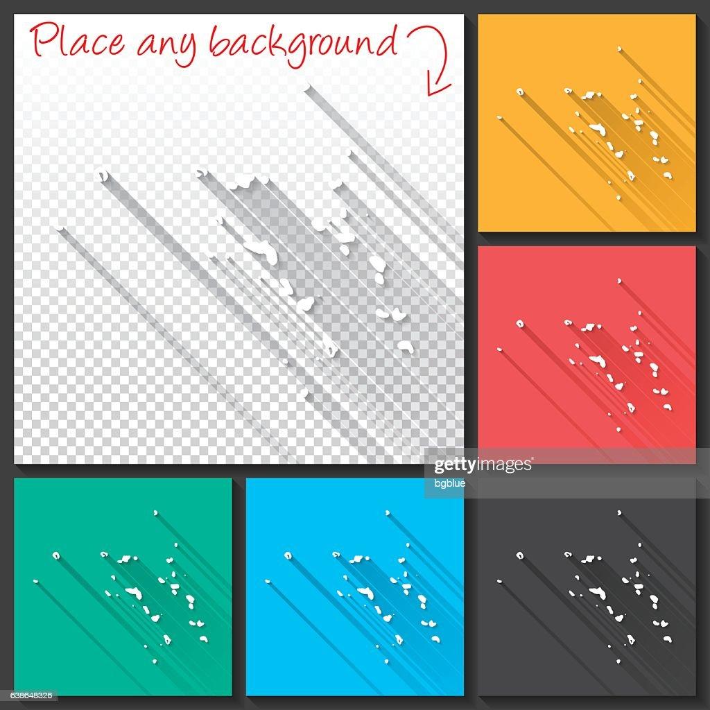 Marshall Islands Map For Design Long Shadow Flat Design Vector Art ...