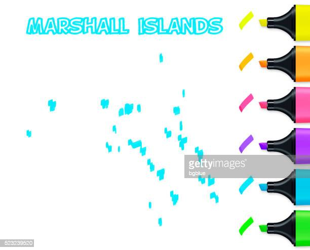 Marshall Islands map hand drawn on white background, blue highlighter
