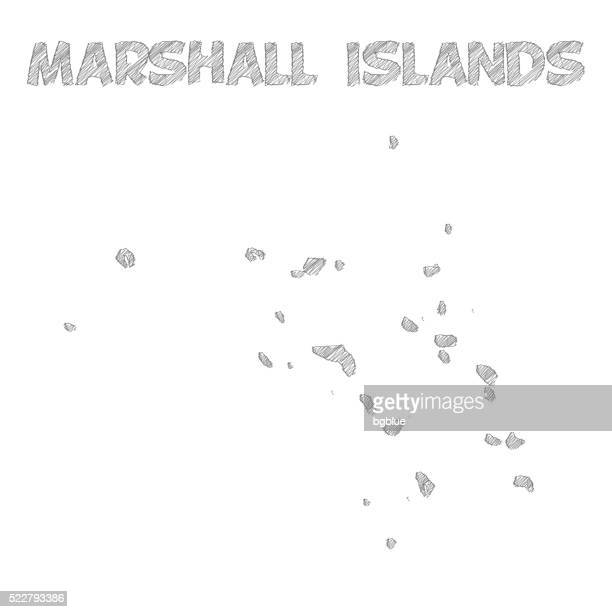 Marshall Islands map hand drawn on white background
