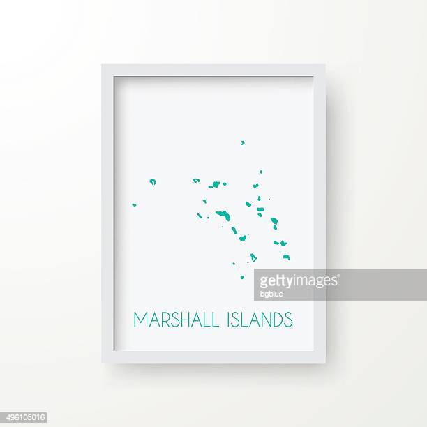 Marshall Islands Map in Frame on White Background
