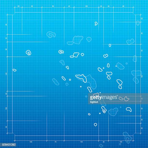 marshall islands map on blueprint background - marshall islands stock illustrations, clip art, cartoons, & icons