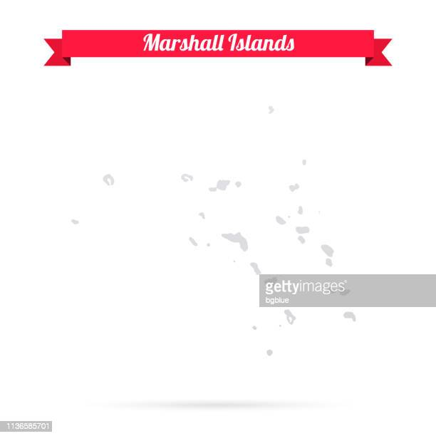 marshall islands map on white background with red banner - marshall islands stock illustrations, clip art, cartoons, & icons