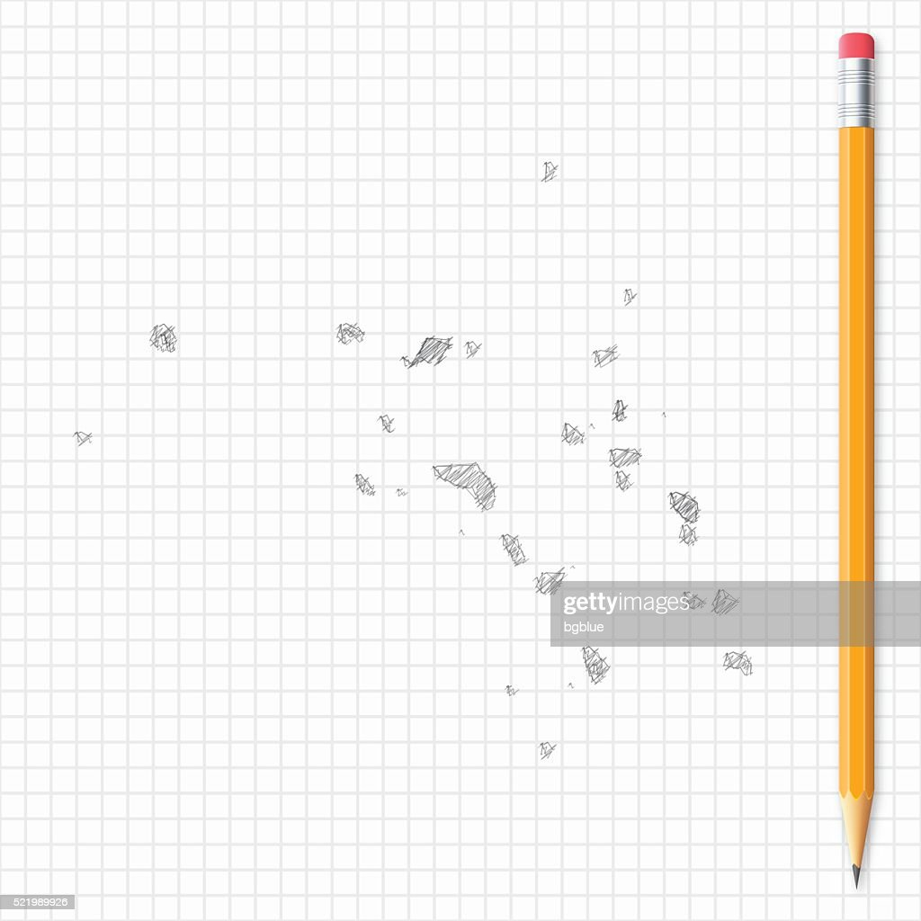 Marshall Islands map sketch with pencil on grid paper : stock illustration