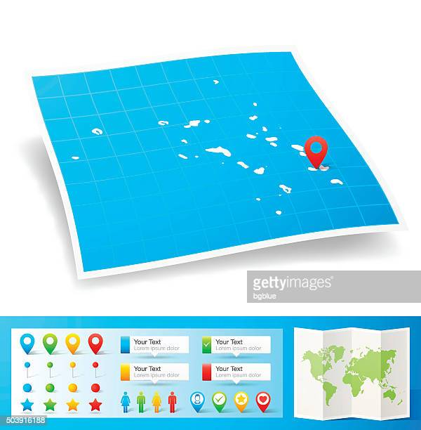 Marshall Islands Map with location pins isolated on white Background