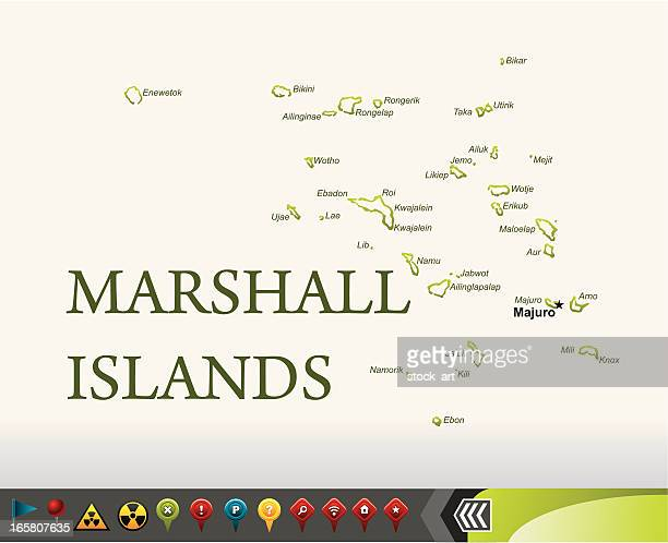 marshall islands map with navigation icons - marshall islands stock illustrations, clip art, cartoons, & icons