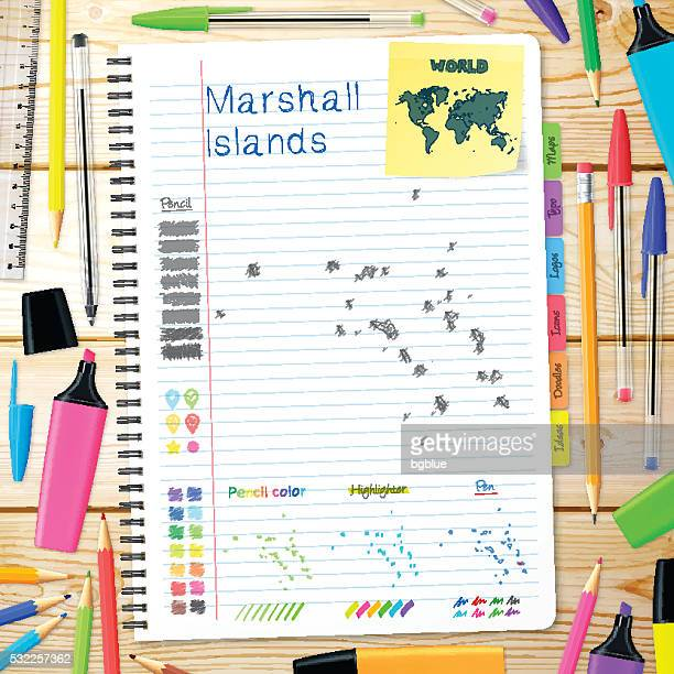 marshall islands maps hand drawn on notebook. wooden background - marshall islands stock illustrations, clip art, cartoons, & icons