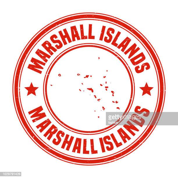 marshall islands - red grunge rubber stamp with name and map - marshall islands stock illustrations, clip art, cartoons, & icons