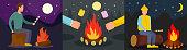 Marshmallow bonfire banner concept set, flat style