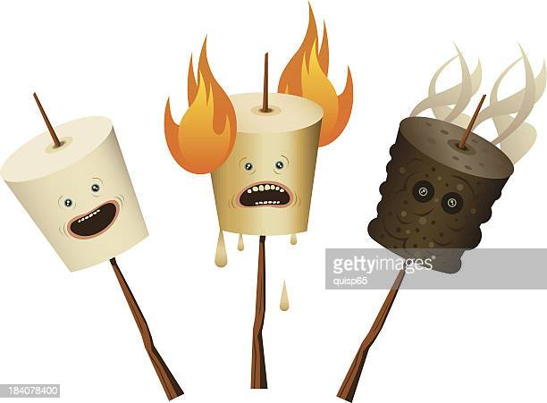 marshmallow characters - walking cane stock illustrations