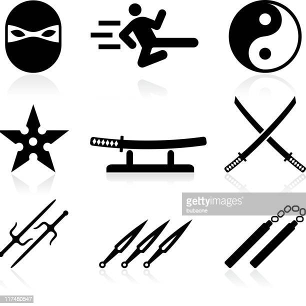 Martial Art and ninja black & white vector icon set