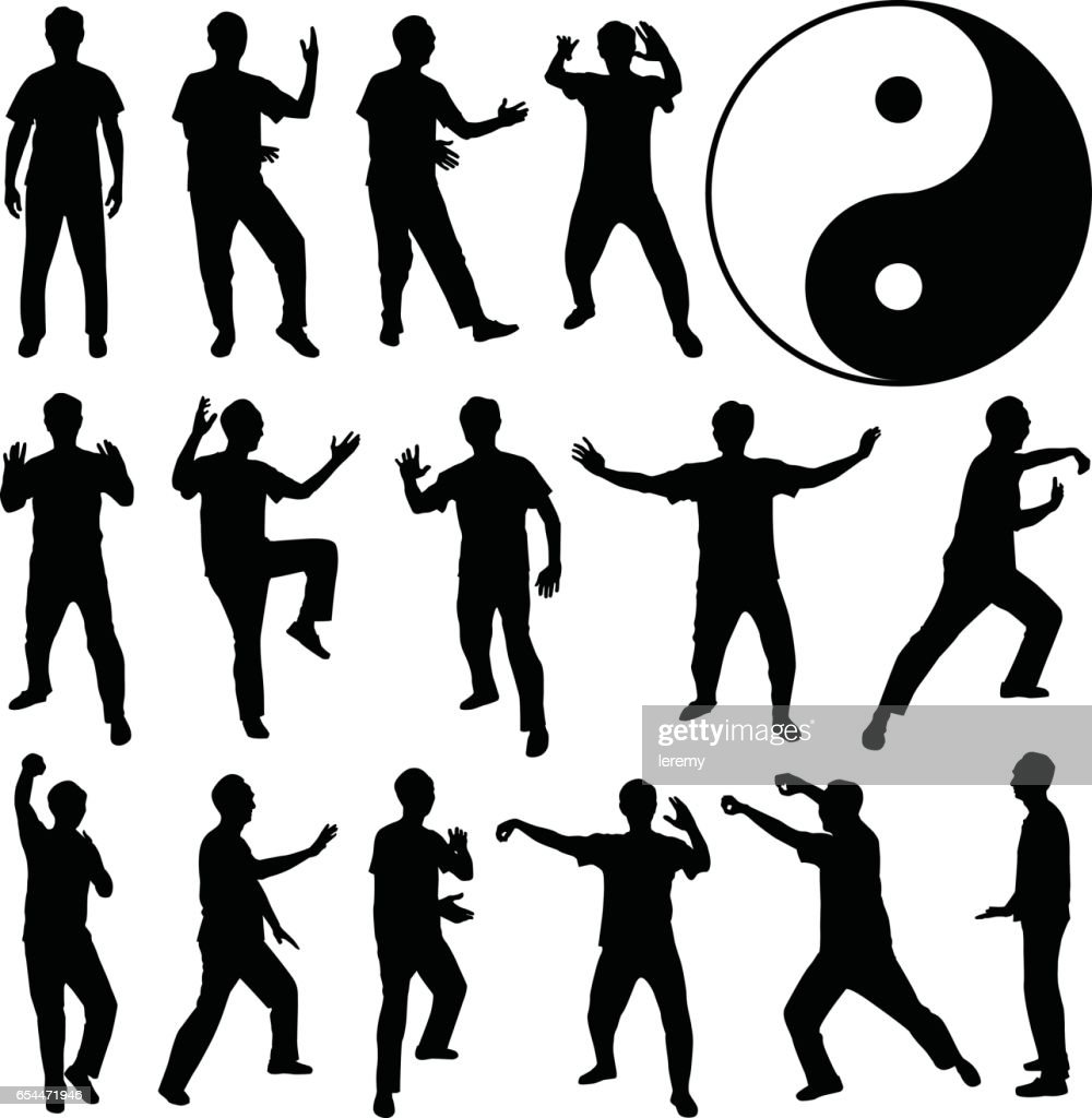 Martial Art Kung Fu Self Defense in Silhouette Vector