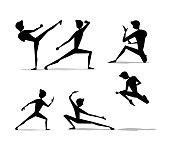 martial art man movement silhouette cartoon set