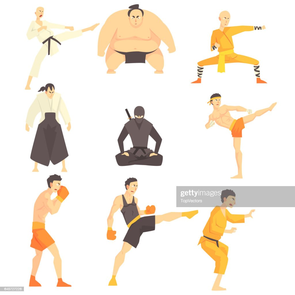 Martial Arts Fighters Performing Different Technique Kicks Set Of Asian Fighting Sports Professional In Traditional  Outfits Sportive Clothin