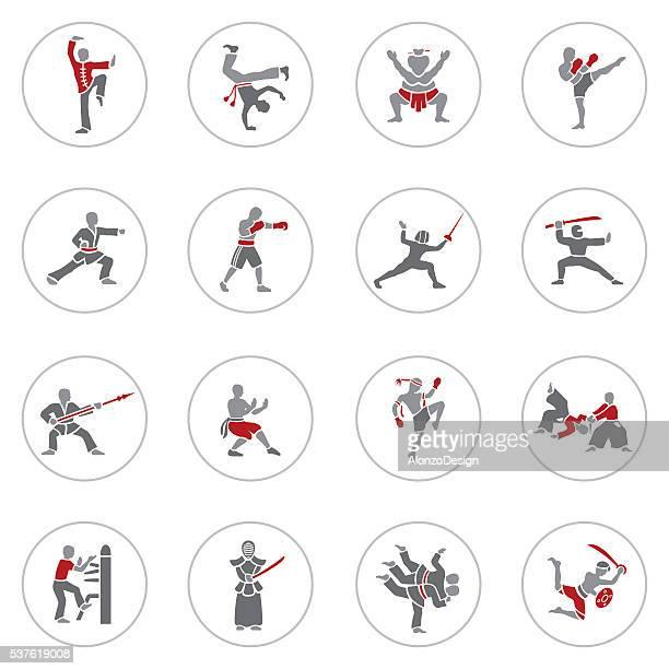ilustrações de stock, clip art, desenhos animados e ícones de conjunto de ícones de artes marciais - capoeira