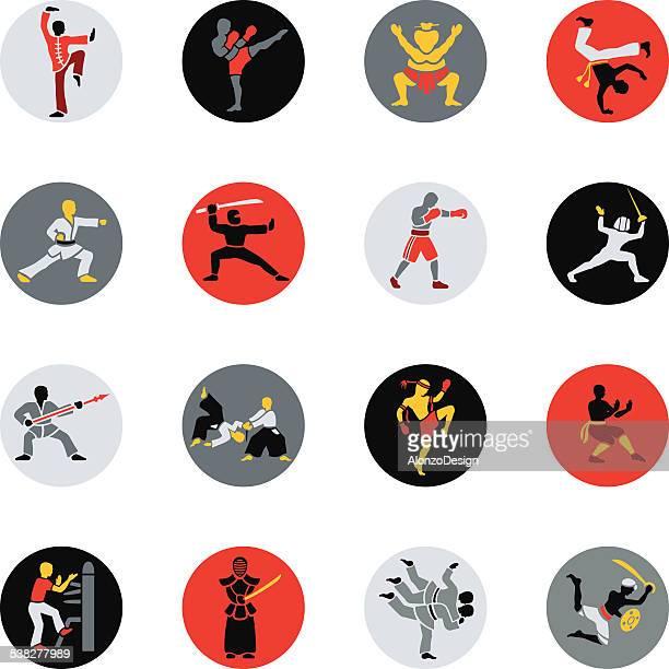 ilustrações de stock, clip art, desenhos animados e ícones de ícones de artes marciais - capoeira