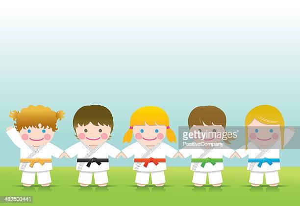 martial arts: judo mädchen blonden brown - lebewesen stock-grafiken, -clipart, -cartoons und -symbole