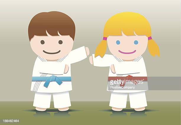 ilustrações de stock, clip art, desenhos animados e ícones de crianças de artes marciais - judo