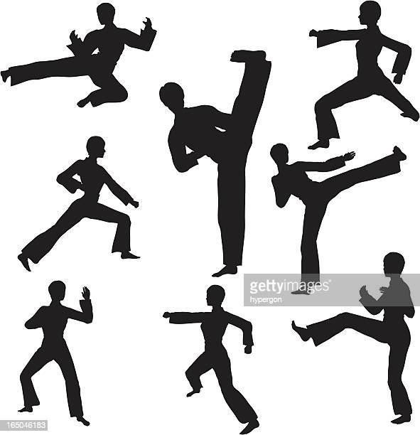 martial arts silhouette collection - martial arts stock illustrations