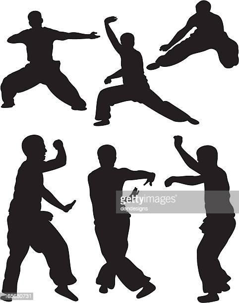 ilustrações de stock, clip art, desenhos animados e ícones de silhueta de artes marciais - judo